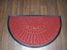 NON SLIP DOORMAT 45X75CM RUBBER BACK GOOD QUALITY ALL COLOURS HALF MOON RED
